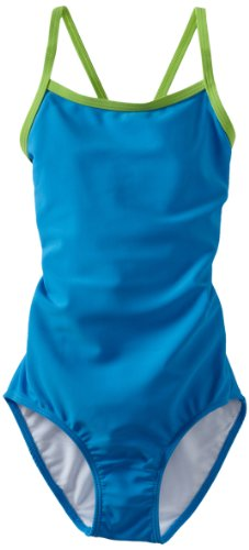 Kanu Surf Big Girls' Mermaid Solid One-Piece Swimsuit, Royal, 7