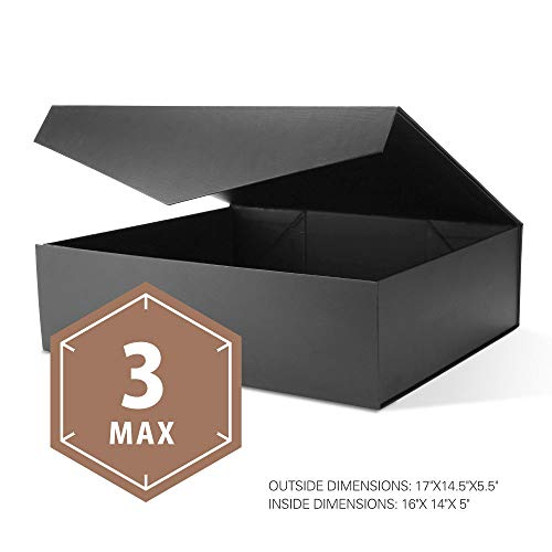 PACKHOME Extra Large Gift Boxes with Lids Rectangular 17x14.5x5.5 Inches, Gift Boxes for Clothes and Large Gifts (Matte Black with Embossing, 3 Boxes)