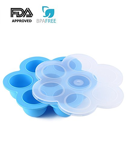 Small Tray Serving Liner (Silicone Egg Bites Molds for Instant Pot Accessories - Fits Instant Pot 5,6,8 qt Pressure Cooker, Reusable Storage Container, Baby Food Container and Freezer Tray with Lid (Blue))