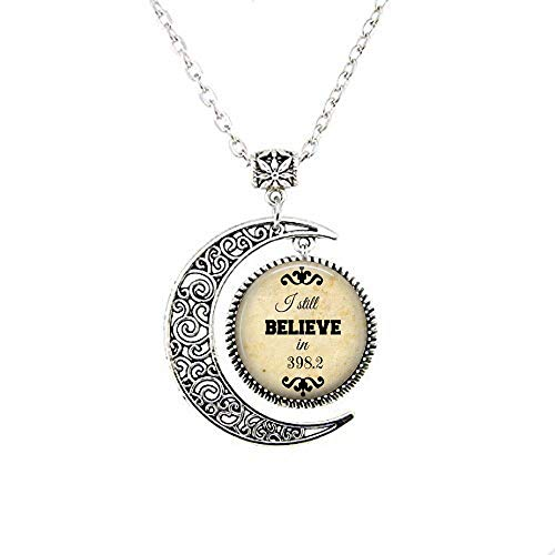 (I Still Believe in 398.2 (Fairy Tales) Moon Necklace - Book Pendant, Librarian Necklace, Library, Books, Fairy Tales)