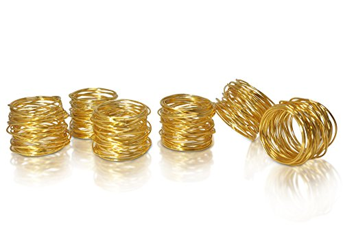 HomeProMart Napkin Rings – Set of 6 Exquisitely Crafted Designer Mesh Napkin Rings For Home, Wedding or Holiday parties (Gold)