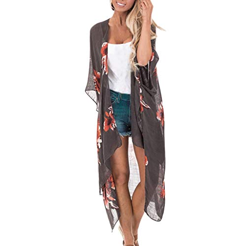 DONTAL Womens Ladies Floral Print Cardigan Long Blouse Loose Tops Long Outwear Cover Up Black