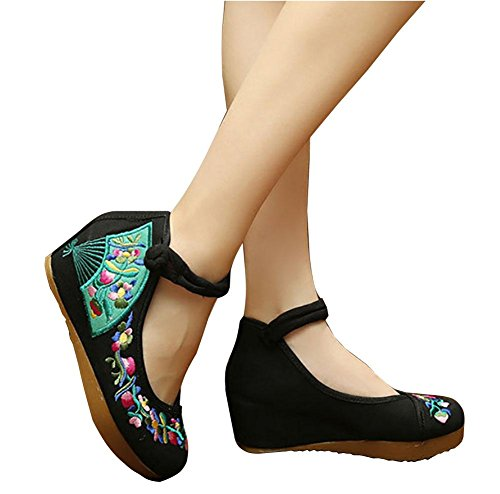 5 Retrò Uk Scarpe Us Donna Singole 36 6 Nuove Da Casual 45uk7us38eu39cn 37 Black Xie Ricamate Eu 3 Cn zqF1xw