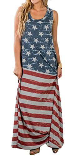Long As Domple Flag American Dress Party Print Picture Round Neck Stylish Sleeveless Swing Women's vwY7rv