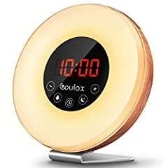 Parameter: Color: Wood Grain Display screen: LED Materials: Woodiness and ABS plastic Power supply: 5V DC, 1 x CR2032 battery, or USB cableSunrise/Sunset Simulation Wake Up Light 30 mins before alarm/sunset time, the sunrise/sunset simulation...