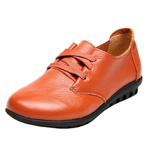 Binying Femme Rond Bout Orange Lacets Plat Mocassins 3q4LjA5R