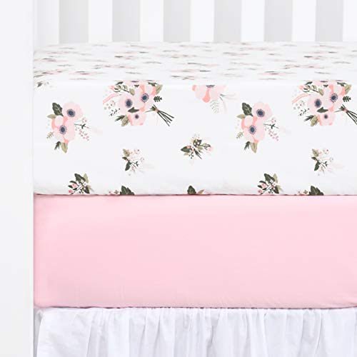 "TILLYOU Printed Floral Crib Sheets Set, 100% Egyptian Cotton Toddler Sheet Set for Baby Girls, Soft Breathable, 28""x52"", 2 Pack Floral & Pink"