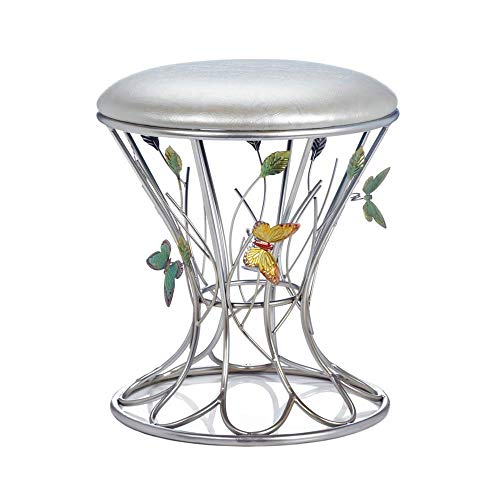 Metal Nickel Satin Accents - Butterfly Garden Stool, Butterfly Bathroom Vanity Stool, Girls Makeup Table Chair, Satin Nickel Metal Accent Stool with Butterflies, Round Silver Accent Stools, Whimsical Butterfly Themed Decor Gift
