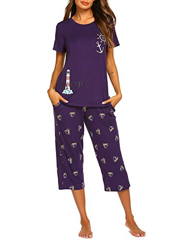 MAXMODA Women's Pajama Set Stylish Print O-Neck Short Sleeves Top with Capri Pants Sleepwear Pjs Sets