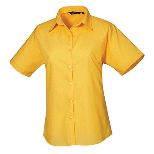 femme Tournesol en Jaune pour manches Coloris popeline Chemisier chemise Femmes courtes uni Zq17AwU