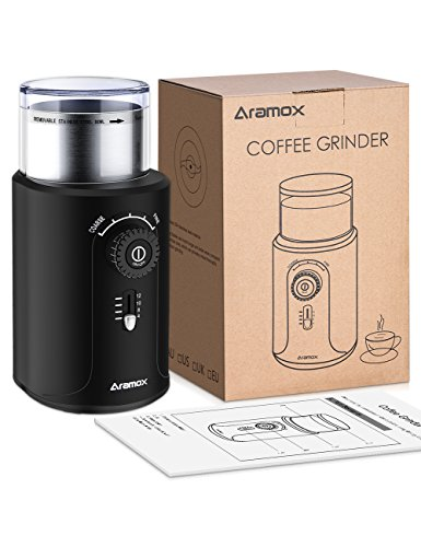 Electric Coffee Bean Grinder with Stainless Steel Blades,Grind Size and Cup Selection, 2.5-Ounce, Black by Aramox (Image #8)