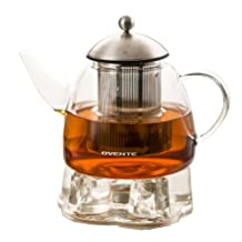 Ovente FGA44T Heat Tempered Glass Teapot with Tea Infuser and Warmer, 44 oz., Glass