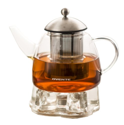 Ovente 61oz Heat Tempered Glass Teapot with Tea Infuser and Glass Teapot Warmer (FGA61T)