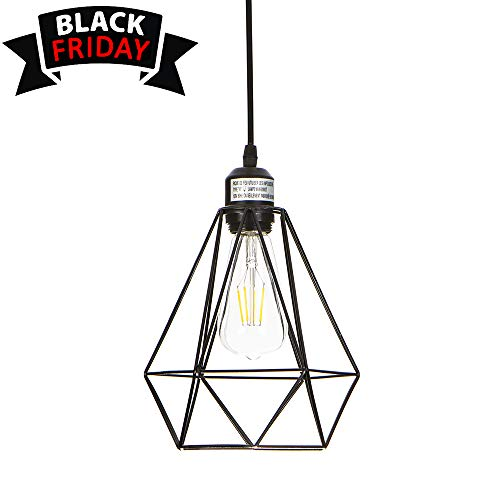 Wire Deco Art - GLANZHAUS Mini Vintage Style Art Deco Adjustable Black Wire Diamond Lampshades Metal Industrial Hanging Pendant Light, Oil Rubbed Bronze Finish Ceiling Lighting Fixture
