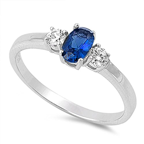 - Oval Blue Simulated Sapphire Wedding Promise Ring New .925 Sterling Silver Band Size 6