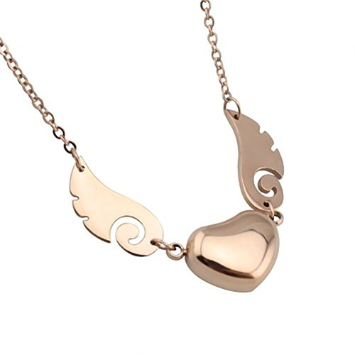 WaMLFac Angel Wing Heart Pendant Necklace, Stainless Steel, 18k Rose Gold Plated, 18 Inch Chain (Angel Heart Pendant)
