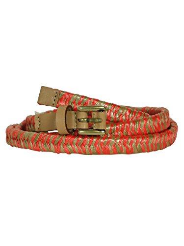 Nine West Women's Woven Straw Belt (L, Pink)