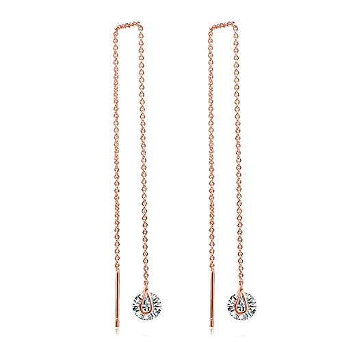Threader Earrings Gold Chain - Rose Gold Earrings For Women Dangle Earrings Thread Dangling Threaded 14k Gold Dipped Long Chain Earring for Women Nickel Free Hypoallergenic Earrings (Rose gold-3)