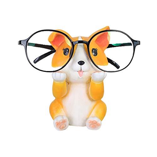 Girl Ornament Glass - Konrisa Creative Glasses Holder Stand Corgi Office Ornament Reading Sunglasses Eyeglass Holder Display Stand Home Decoration Reader Gift for Boys Girls