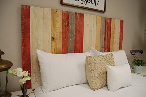Country Mix Headboard California King Size, Hanger Style, Handcrafted. Mounts on Wall. Easy Installation