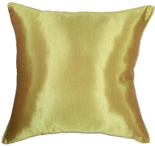 "Artiwa 16""x16"" Solid Vegas Gold Silk Decorative Throw Accent"