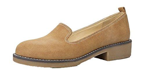 AllhqFashion Femme PU Cuir à Talon Bas Rond Couleur Unie Tire Chaussures Légeres Jaune