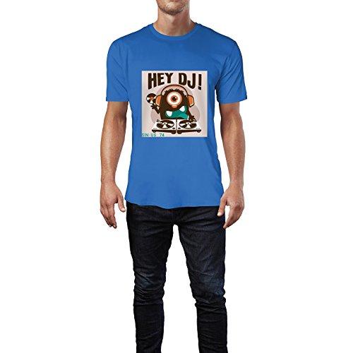SINUS ART® Hey DJ! Monster mit Turntables Herren T-Shirts in Blau Fun Shirt mit tollen Aufdruck