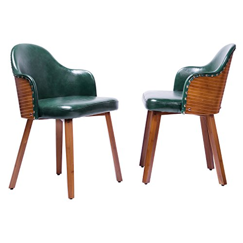 - Upholstered Dinner Chairs Set of 2 for Kitchen Dining Room and Living Room Side Chairs (Deep Green, PU Back)