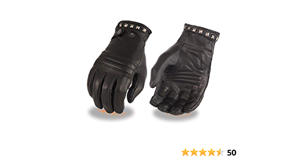 Milwaukee Leather Womens Lthr Thermal Lined Glove w//Studding Detail-Black-Medium