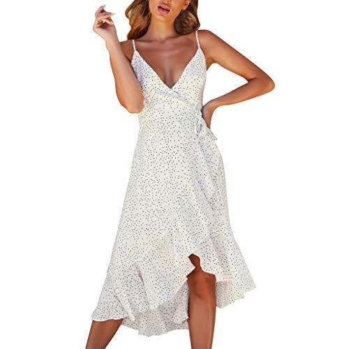 WatFY Dress Women Sundress Summer Strappy V Neck Skirt Ladies Polka Dot Ruffle Ball Gown Hem Dresses (White, XL) ()
