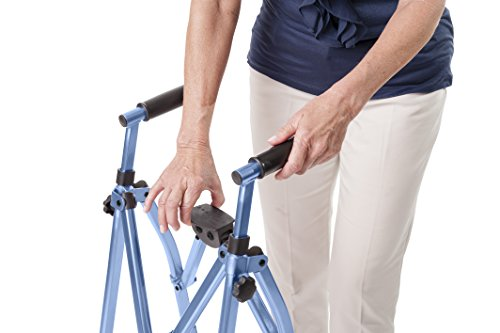 Able Life Space Saver Walker - Lightweight Folding & Height Adjustable Adult Travel Walker for Seniors + Fixed Wheels & Rear Glides - Cobalt Blue by Able Life (Image #4)