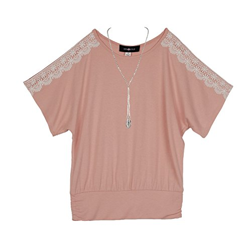 Amy Byer Girls' Big Short Top with Lace Sleeve Detail, Boho Rose L ()