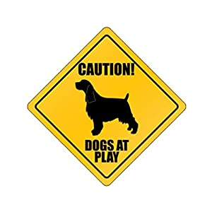 Dogs at Play English Springer Spaniel - Dogs - Crossing Sign Aluminum Metal 7