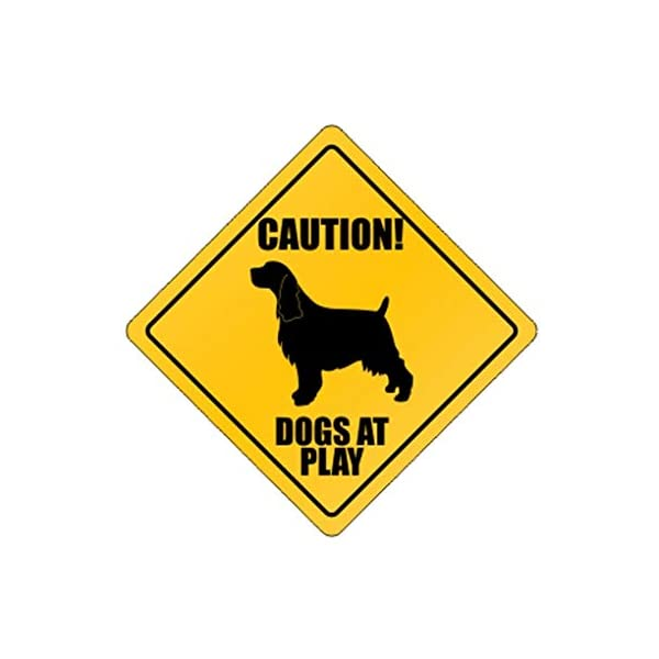 Dogs at Play English Springer Spaniel - Dogs - Crossing Sign Aluminum Metal 1