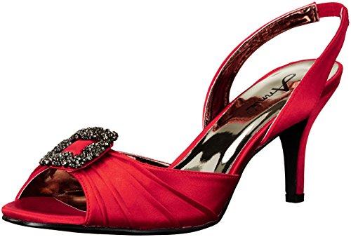 Annie Shoes Women's Lara Wide Calf Dress Sandal, Red, 6.5 W US