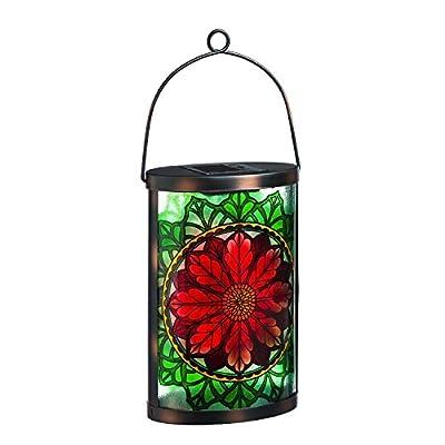 New Creative Poinsettia Glass and Metal Solar Lantern