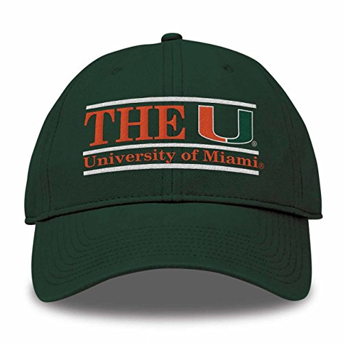 The Game NCAA Miami Hurricanes Bar Design Classic Relaxed Twil Hat, Dark Green, Adjustable - Game Miami Hurricanes Green