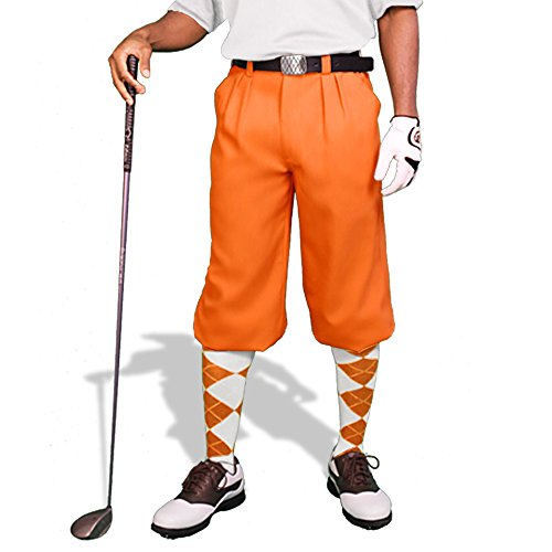 Orange Golf Knickers: Mens 'Par 3' - Microfiber