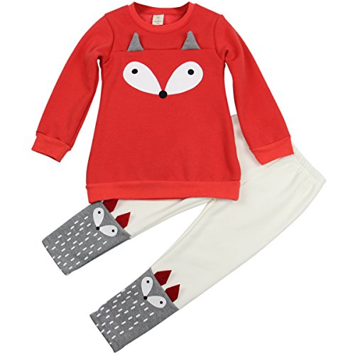 Jastore Baby Girl 2PCS Cartoon Fox Clothing Set Long Sleeve Sweater +Pants (3T)