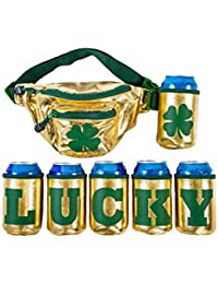 """St. Patrick's Day""""Lucky"""" Fanny Pack with 6 Drink Holders for St. Paddy's Day Hip Bag"""