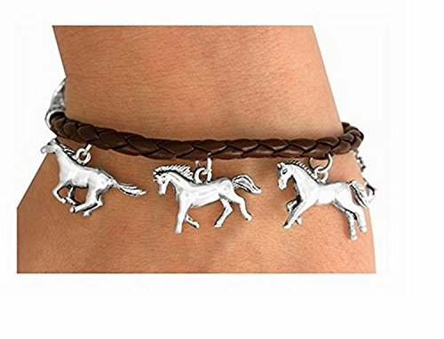 Brown Rope-like Multi Horse Charm Toggle Bracelet by Lonestar Jewelry