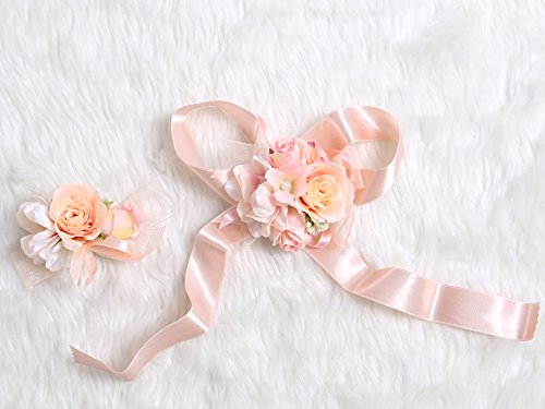 Petite Prom Wrist Corsage Silk rose and Boutonniere Set Pin Ribbon Included (Old rose theme)