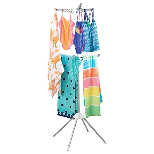 mDesign Folding Tripod Two-Tier Laundry Drying Rack – - Floor Dryer Standing