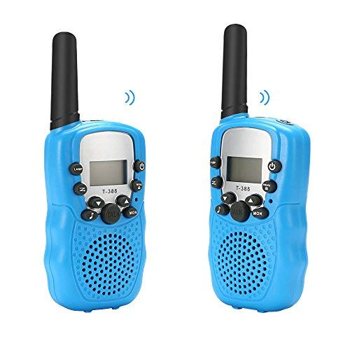 BROMOSE Kids Walkie Talkies 22 channel two way radio up to use 3 Miles Handset with Indicator and Belt Clip Toy for Children Great Fun for Outdoor Play Camping Hiking 2 PCS,Blue