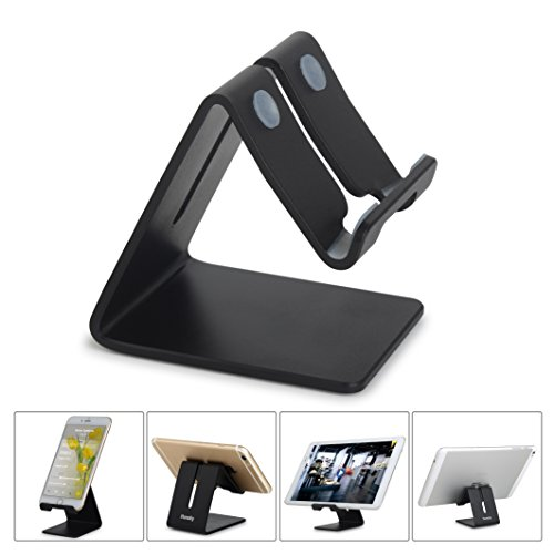 Price comparison product image Honsky NEW VERSION Universal Aluminum Cell Phone Tablet Desk Charging Stand Portable Hands Free Desktop Display Holder for iPhone 7 6 Plus 5 ipad 2 3 4 Mini iPod Samsung E-reader,Black