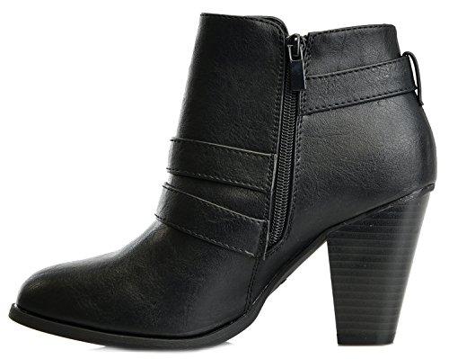 Block Women's Titan Strap Mall Buckle Black Heel Forever Booties Ankle q66EXwaUr