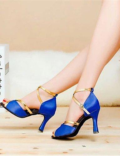 Leopard ShangYi Flared Black Shoes Heel Red Dance Latin Red Women's Blue Satin qrOwxvqFR
