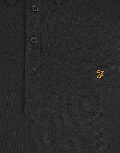 Farah Herren Button-down Poloshirt, Einfarbig Schwarz black marl