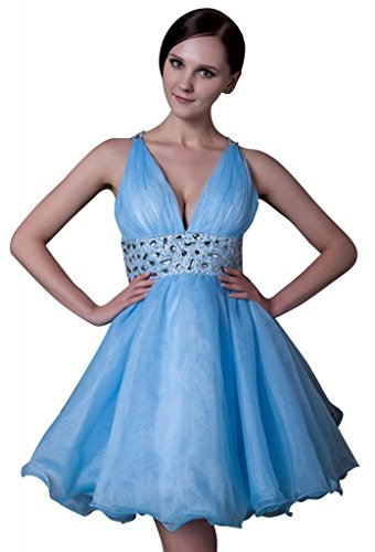 BRIDE Blau Abendkleid Ausschnitt Taille V GEORGE Perlen Blau Mini Charmante fv1cawyxdq