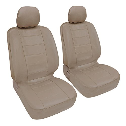 Car Cream - Custom Auto Crews - Beige Cream PU Leather Seat Covers Front Pair Set of 2 - Leatherette Grade